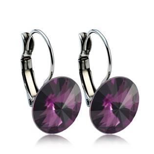 Ocelové náušnice s krystaly Swarovski® 12 mm, AMETHYST