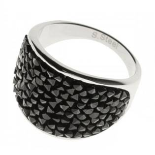 Ocelový prsten s krystaly Crystals from Swarovski®, BLACK JET
