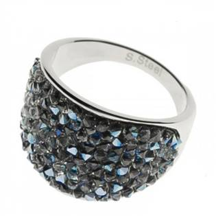 Ocelový prsten s krystaly Crystals from Swarovski®, BLUELIZED