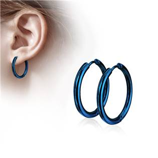 Modré ocelové náušnice - kruhy 15 mm