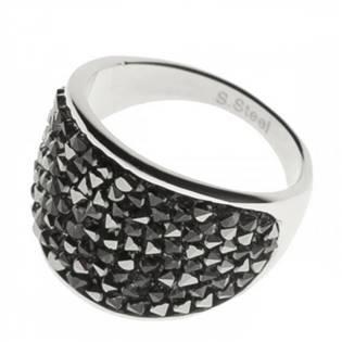 Ocelový prsten s krystaly Crystals from Swarovski®, GREY METALISEÉ
