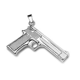 Ocelový přívěšek pistole