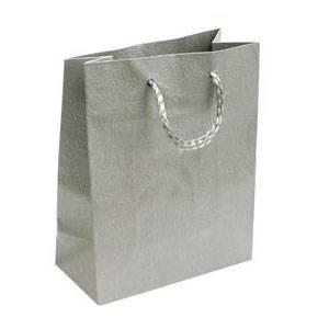 Dárková taška stříbrná s květinovým dekorem