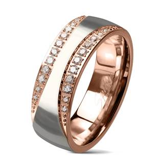 Zlacený ocelový prsten se zirkony, vel. 52