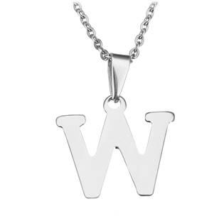"""Ocelový řetízek s přívěškem iniciála """"W"""""""