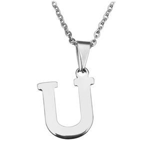 """Ocelový řetízek s přívěškem iniciála """"U"""""""