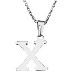 """Ocelový řetízek s přívěškem iniciála """"X"""""""