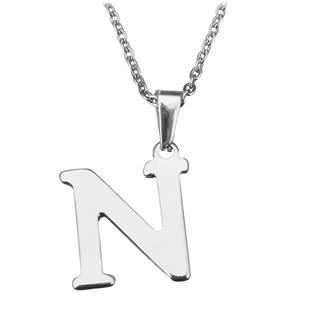 """Ocelový řetízek s přívěškem iniciála """"N"""""""