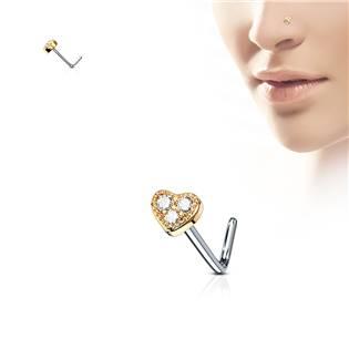 Zlacený piercing do nosu srdíčko