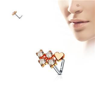 Zlacený piercing do nosu, čiré kamínky