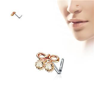 Zlacený piercing do nosu mašlička, čiré kamínky