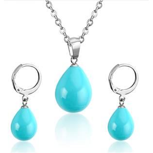 Set šperků z chirurgické oceli, barva tyrkysová