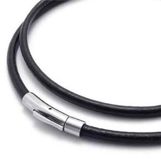 Kožený náhrdelník - ocelový uzávěr, tl. 3 mm