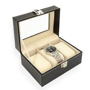 Šperkovnice na ukládání hodinek - černá koženka