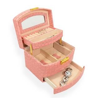 Šperkovnice - růžová koženka