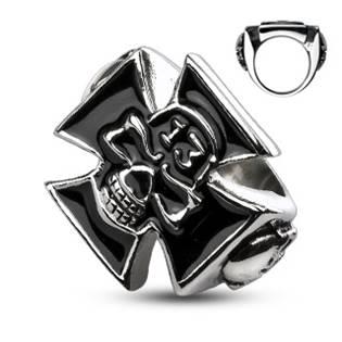 Ocelový prsten - kříž s lebkou OPR1308