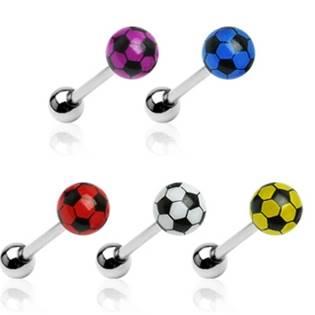 Piercing do jazyka - fotbalový míč