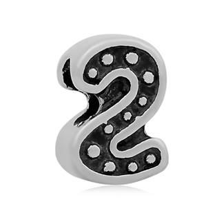 """Navlékací ocelový přívěšek korálek - číslice """"2"""""""