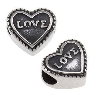 Navlékací ocelový přívěšek korálek - LOVE