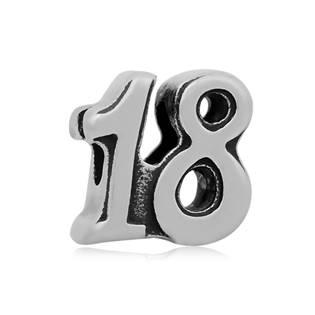 Navlékací ocelový přívěšek korálek - číslovka 18