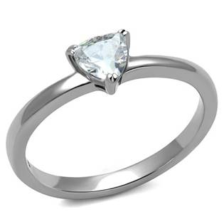 Ocelový prsten s trojúhelníkovým kamenem, vel. 52