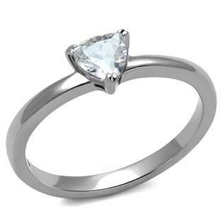 Ocelový prsten s trojúhelníkovým kamenem, vel. 57