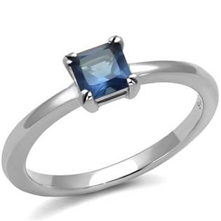 Ocelový prsten s modrým kamenem, vel. 52