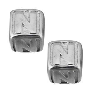 """Navlékací ocelový přívěšek korálek - písmeno """"N"""""""