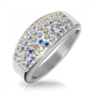 Ocelový prsten s krystaly Crystals from Swarovski®, AB