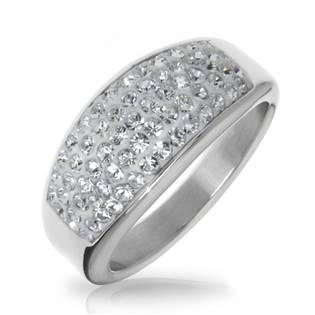 Ocelový prsten s krystaly Crystals from Swarovski®, CRYSTAL