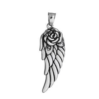 Přívěšek ocel - andělské křídlo s růží