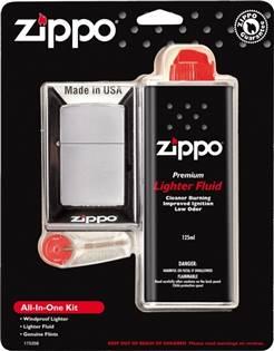 ZIPPO dárková sada zapalovač broušený + benzín + kamínky