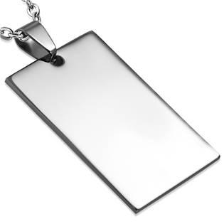 Ocelový přívěšek - destička obdélník 22 x 35 mm