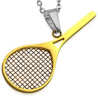 Ocelový přívěšek - tenisová raketa zlacená