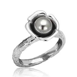 Ocelový prsten se šedou perličkou