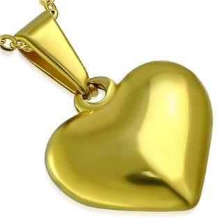 Zlacený ocelový přívěšek - srdíčko