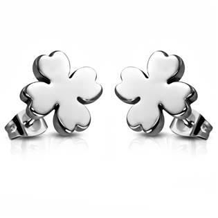 Ocelové náušnice - čtyřlístky