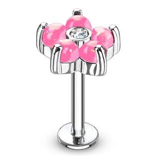 Labreta / piercing do ucha - kytička, růžové kamínky