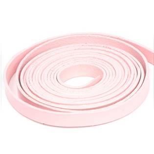 Kožená šňůrka plochá růžová, šíře 10 mm