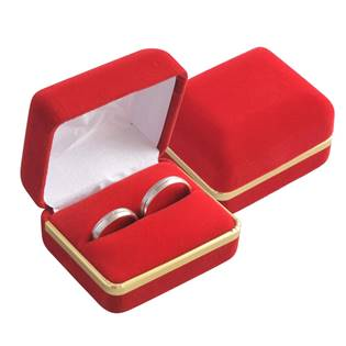 Semišová dárková krabička na prsten snubní prsteny, barva červená