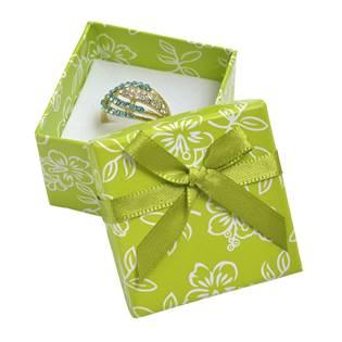 Dárková krabička na prsten s kytičkami, zelená