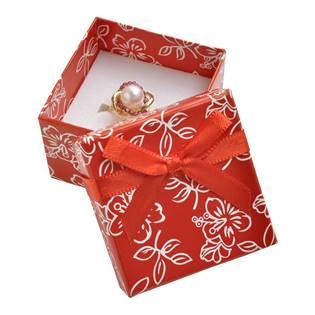 Dárková krabička na prsten s kytičkami, červená