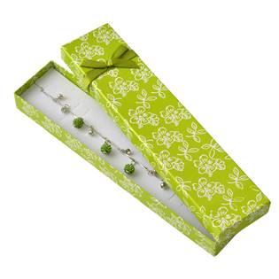 Dárková krabička na náramek s kytičkami, zelená