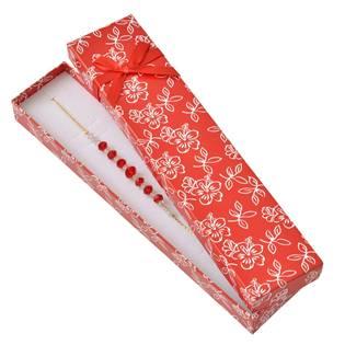 Dárková krabička na náramek s kytičkami, červená