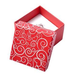 Malá červená krabička na prsten se sdíčkovými ornamenty
