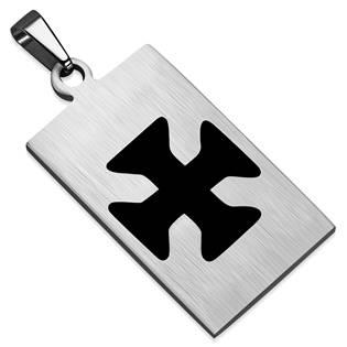 Ocelový přívěšek - destička maltézský kříž 18 x 28 mm