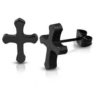 Ocelové náušnice křížky černé
