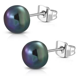Ocelové náušnice s perličkami
