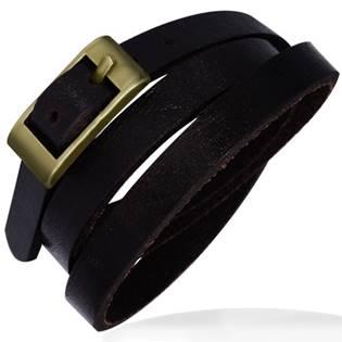 Trojitý tmavě hnědý kožený náramek