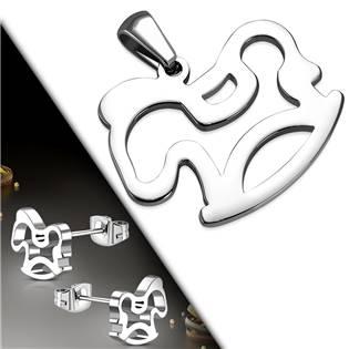 Souprava šperků z chirurgické oceli - houpac koník
